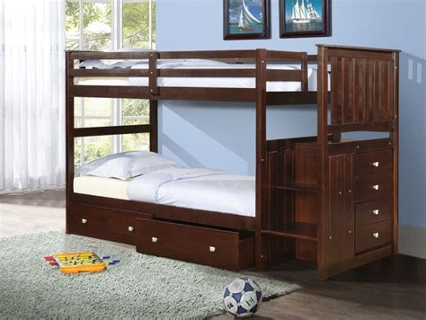 Bunk Beds With Drawers Built In Wood Bunk Bed With Reversible Stairs And Built In 4 Drawer Chest Ebay