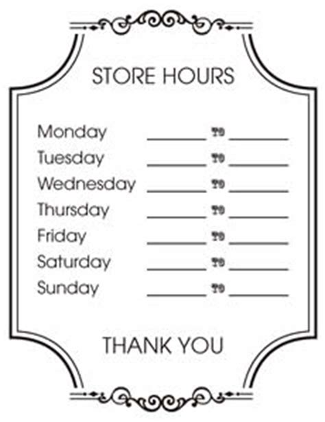 printable business hours sign template free printable operational signage for business