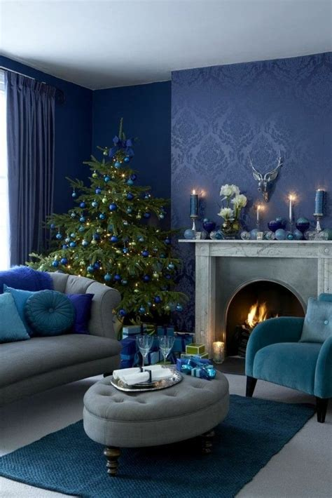 deco  christmas living room blue wall design christmas tree carpet home decor