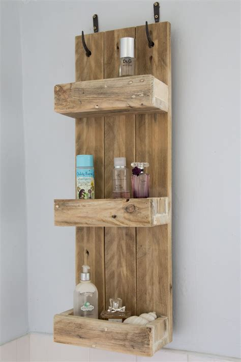 Rustic Bathroom Shelves Made From Reclaimed Pallet Wood Wooden Bathroom Shelving