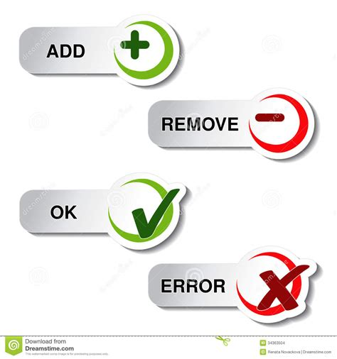 Add Remove And Ok Error Item - Button Stock Vector - Image ...