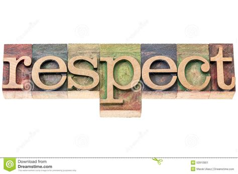 typography on wood respect word typography in wood type stock photo image