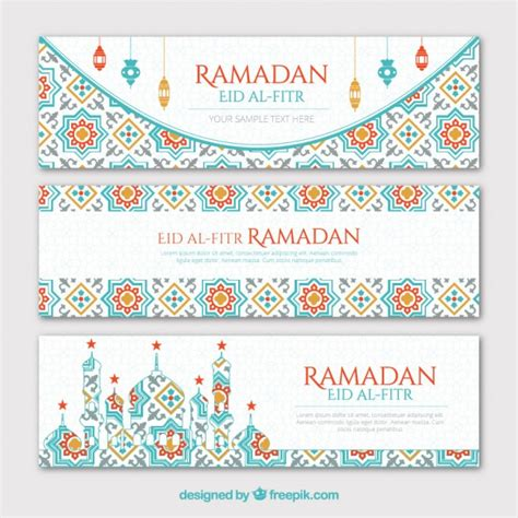free printable eid banner geometrical ramadan banners set vector free download