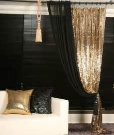 Black Gold Curtains Gold Sequins Beaded Curtain Drapery Panel Room Divider Handmade Order Made Glitter Will