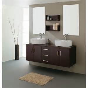 Double esprsso wood bathroom vanity include white vessel sinks