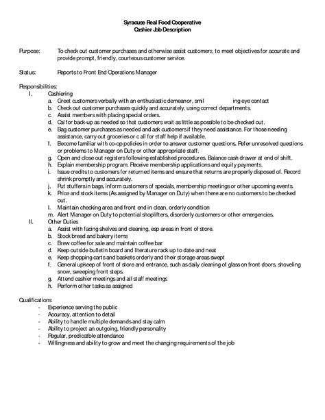 Description Resume by 10 Cashier Description For Resume Sle