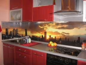 contemporary kitchen backsplash ideas colorful glass backsplash ideas adding digital prints to