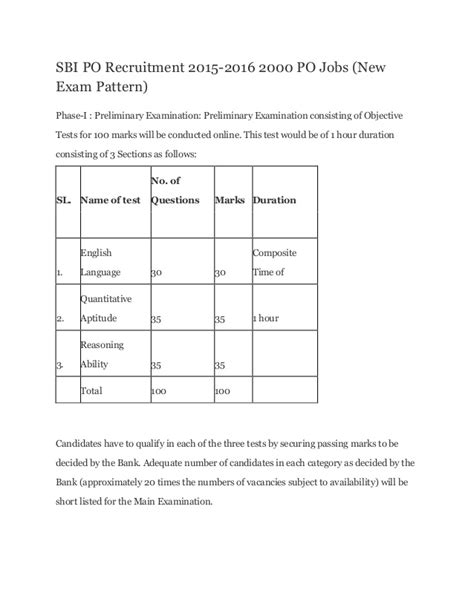 pattern of net exam june 2015 sbi po recruitment 2015 2016 2000 po jobs new exam pattern