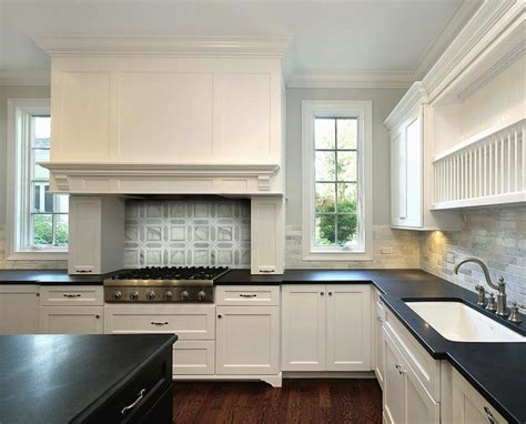 White Kitchen Cabinets With Black Granite Countertops Black Kitchen Island White Marble Countertops Design Ideas