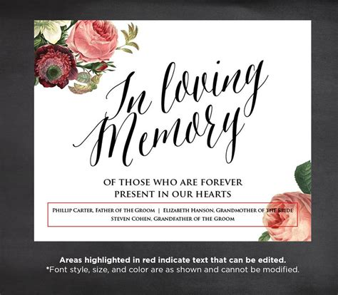 50 Off In Loving Memory Wedding Sign Template Editable In Loving Memory Template Free