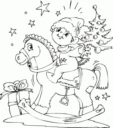 coloring pages christmas horse boy on rocking horse coloring page coloring com