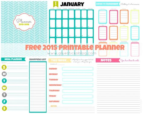 Home Decor Sewing Projects free printable 2015 planner gluesticks