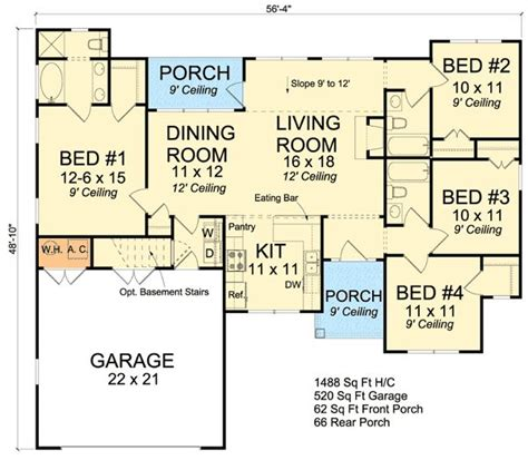 Split Ranch House Plans by Split Bedroom Ranch Home Plan