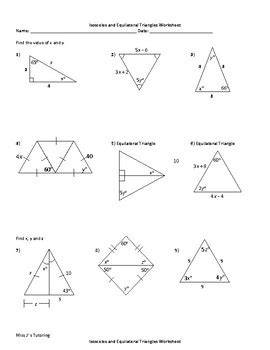 Isosceles And Equilateral Triangles Worksheet by Isosceles And Equilateral Triangles Worksheet By Miss J S