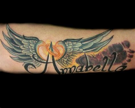 tattoo angel wings and name tattoo inspiration child s footprint tattoo with her name