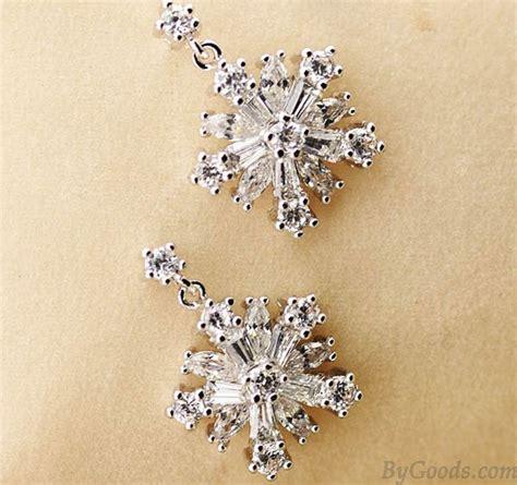 Rhinestone Snowflake Ear Studs Earrings Anting fashion snowflake rhinestone silver earrings studs