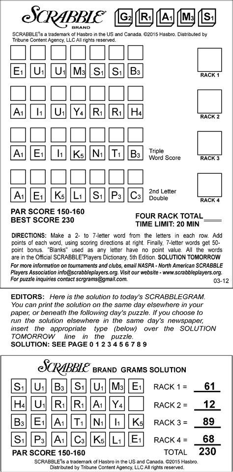 scrabble gram puzzles sle of scrabblegrams daily tribune content agency
