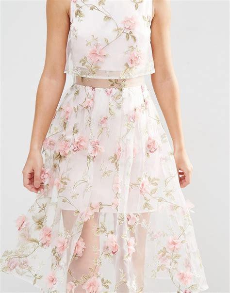 Flower Midi Dress W7989uio I asos 3d flower pink crop top midi dress buyma