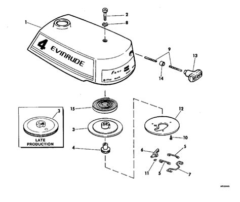 evinrude rewind starter parts   hp ewcss outboard motor