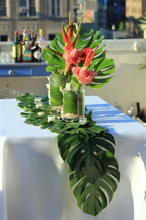 centerpiece themes hawaiian table scape by the smith society table scapes