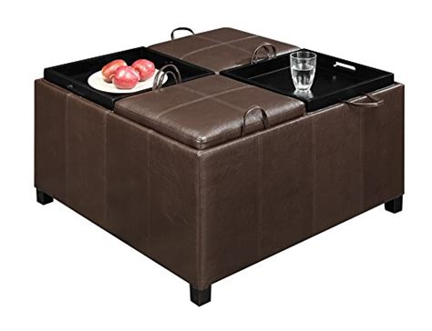 ottoman with 4 tray tops convenience concepts designs4comfort times square ottoman