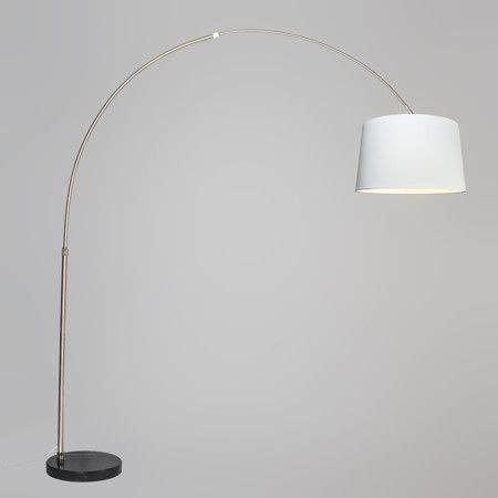 lampara de arco xxl acero pantalla cm conica blanca en