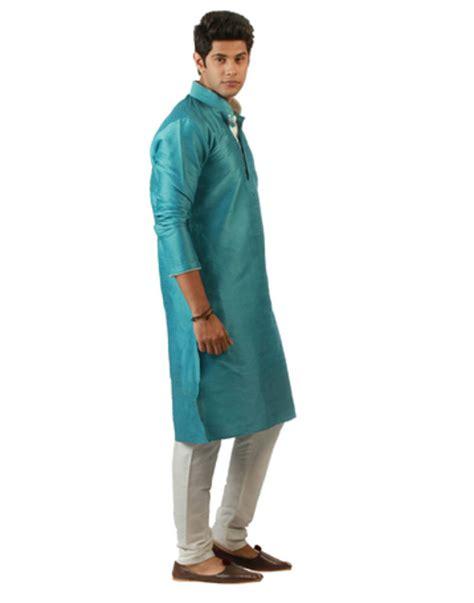 blue kurta pattern buy sky blue blended silk kurta for men online