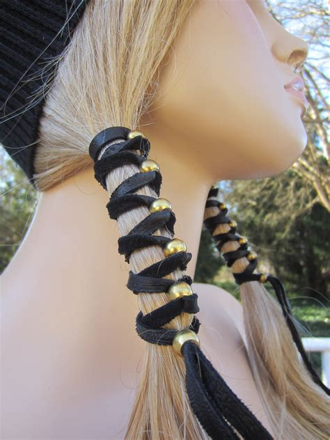 black leather hair wrap ponytail holder hair jewelry boho 2 black leather hair wrap ponytail holder with antique brass