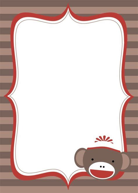 sock monkey invitation template printable sock monkey baby shower invitations theruntime