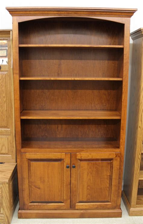 Wide Bookcase With Doors 6 1 2 Deluxe Traditional Bookcase With Doors 43 1 2 Wide Amish Traditions Wv