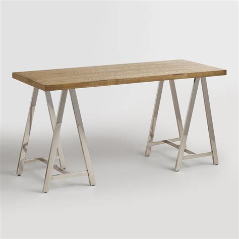 chrome sawhorse table legs wood and chrome colton mix match desk market