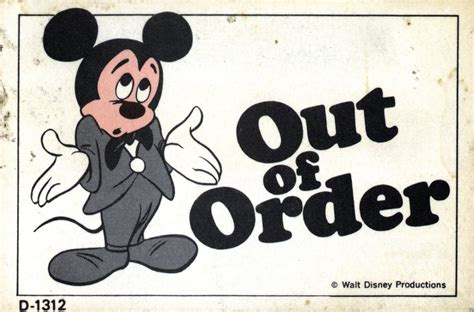Vintage Disneyland Tickets Quot Out Of Order Quot Out Of Service Sign Template