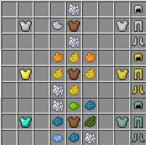 how do you make the color white dye patterns for leather armour iron gold an