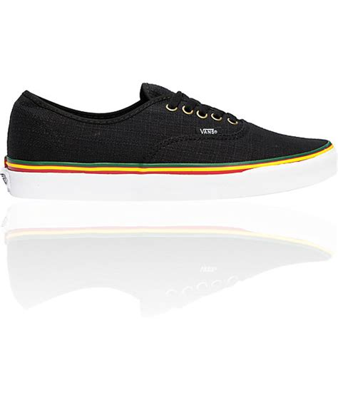 Sepatu Vans Authentic Checker Rasta vans authentic irie hemp rasta black skate shoes mens at zumiez pdp