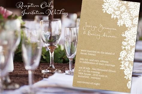 post wedding reception wording exles reception only invitation wordingreception only invitation
