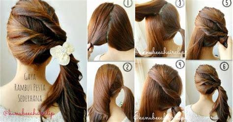 gambar tutorial ikat rambut cara menata rambut sendiri pendek dan panjang