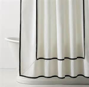Black hotel motif white shower curtain