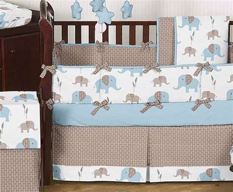 Blue And Brown Elephant Baby Bedding 9p Crib Set For Elephant Crib Bedding For Boys