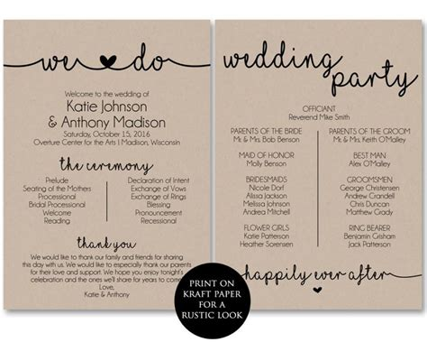 wedding ceremony template wedding program template classic wedding program template