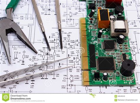 Pcb Layout Contractor Jobs | printed circuit board and precision tools on diagram of