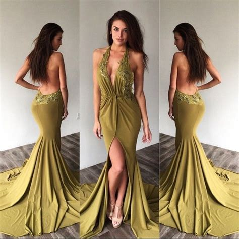 edressit green halter mermaid evening dress prom ball gown 2016 top sexy halter lace backless mermaid one split long