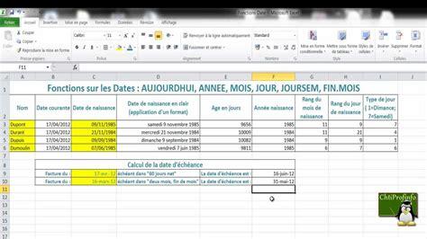 format date en anglais les fonctions dates dans excel 2010 aujourdhui annee