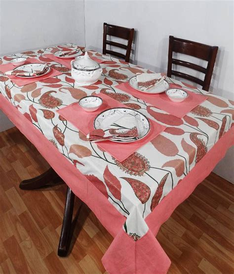 Pink Table L Heritagefabs Harmony Pink Table Cover With 8 Napkins 8 Table Mats Buy Heritagefabs Harmony
