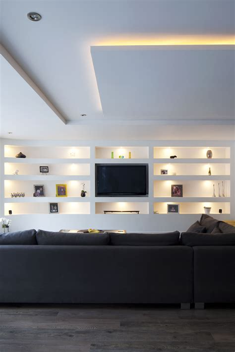 living room open plan seating feature built  wall