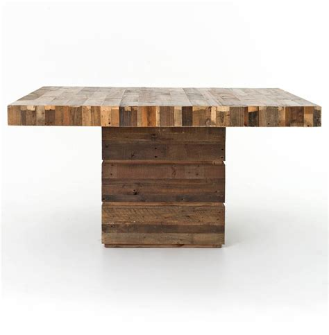 reclaimed wood square dining table rustic lodge chunky reclaimed wood square dining