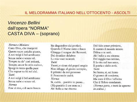 testo casta autori e opere liriche dell 800 italiano