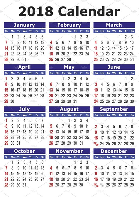 printable calendar english 2018 calendar in english illustrations creative market