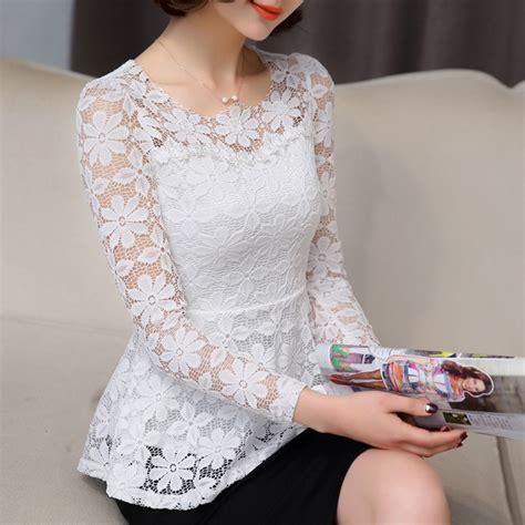 32161 White Lace Blue Solid S M L Dress Le100218 Import new summer blusas peplum top 2017 black white lace blouse slim sleeve shirt