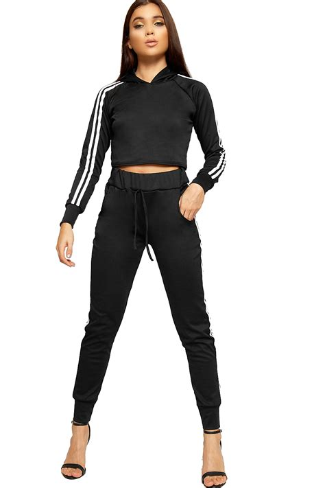Sleeve Striped Hooded Top womens sleeve striped hooded crop top bottoms
