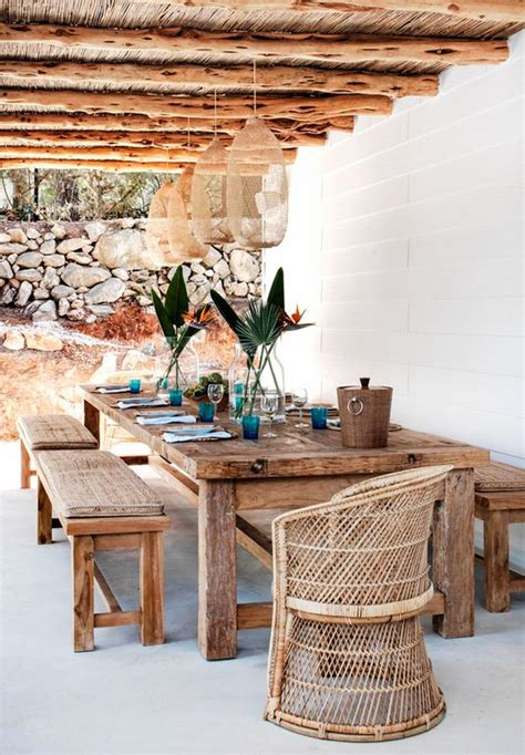 dining area with rustic style wood table and modern chairs 30 awesome outdoor dining area furniture ideas digsdigs
